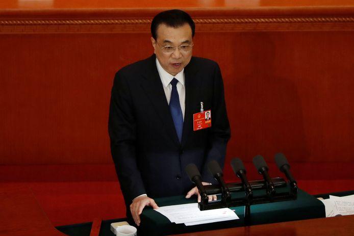 De Chinese premier Li Keqiang tijdens zijn openingsspeech op het Nationale Congres in Beijing.