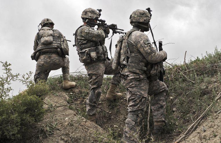 Amerikaanse militairen nemen een positie in nabij het dorp Ibrahim Khel in de Afghaanse provincie Khost (beeld uit 2010). Beeld AFP