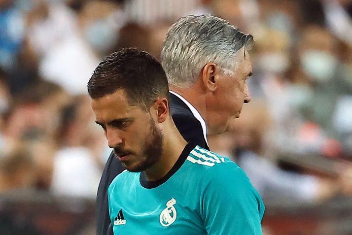Eden Hazard en Carlo Ancelotti.