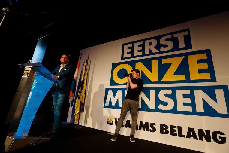 Vlaams Belang-voorzitter Tom Van Grieken (lijsttrekker Antwerpen Kamer).