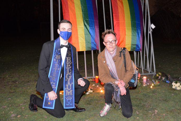 Mister Gay Belgium Joren Houtevels en organisator Tom Goossens.