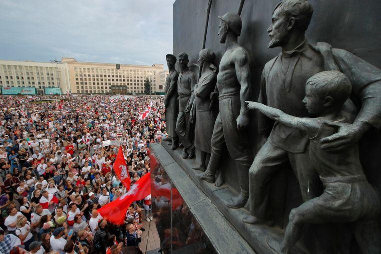 Massale betogingen tegen het Wit-Russische regime in Minsk, vorig jaar augustus.  Beeld AP