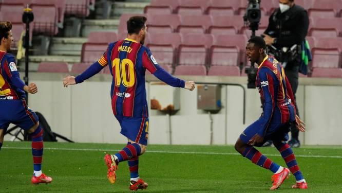 Barcelona komt tot op één punt van Atlético na winner in 90ste minuut van Ousmane Dembélé