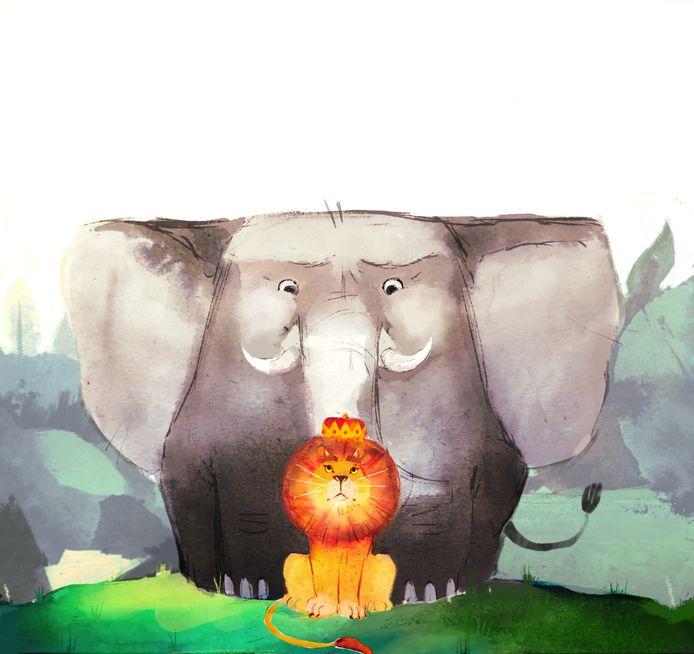 Een illustratie van Iris van Hassel uit het boek Koning van de Jungle