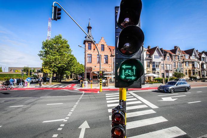 Het 'vierkant groen'-licht langs de Scheepsdalelaan in Brugge.