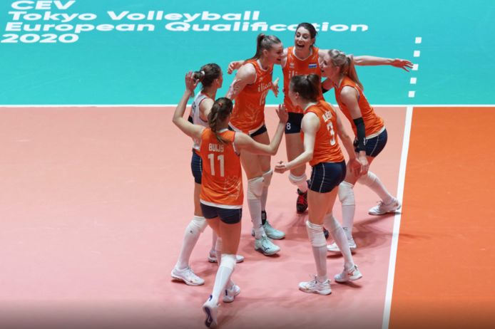 De Nederlandse volleybalsters.