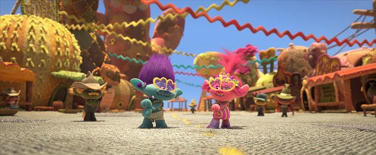 Universal bracht 'Trolls: World Tour' niet uit in de cinema, maar bood de tekenfilm meteen aan via zijn on-demandservice. Beeld RV