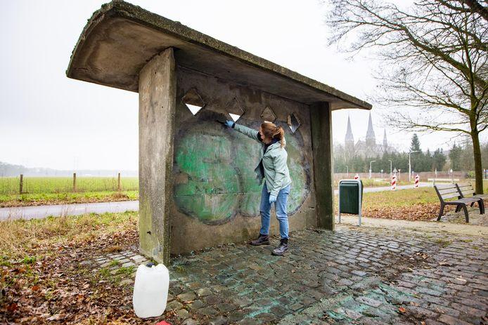 Het monumentale bushoekje bij de trappistenabdij van Koningshoeven wordt aan een kosmetische beurt onderworpen. Anke van Art Salvage gaat behoedzaam te werk.