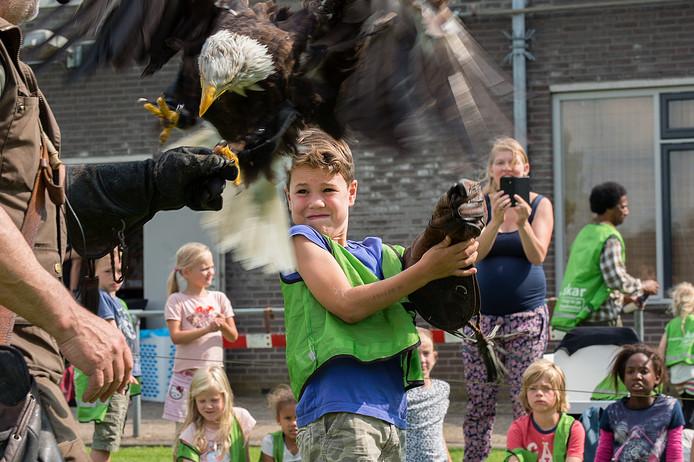 De Jeugdland Roofvogelshow in 2017. Dit keer is het evenement binnen.