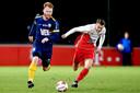Jort van de Sande van FC Eindhoven en Tim Brinkman van Jong FC Utrecht.