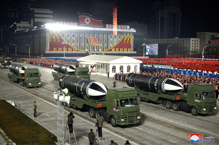 Een militaire parade in Noord-Korea in januari dit jaar in de hoofdstad Pyongyang.  Beeld AP