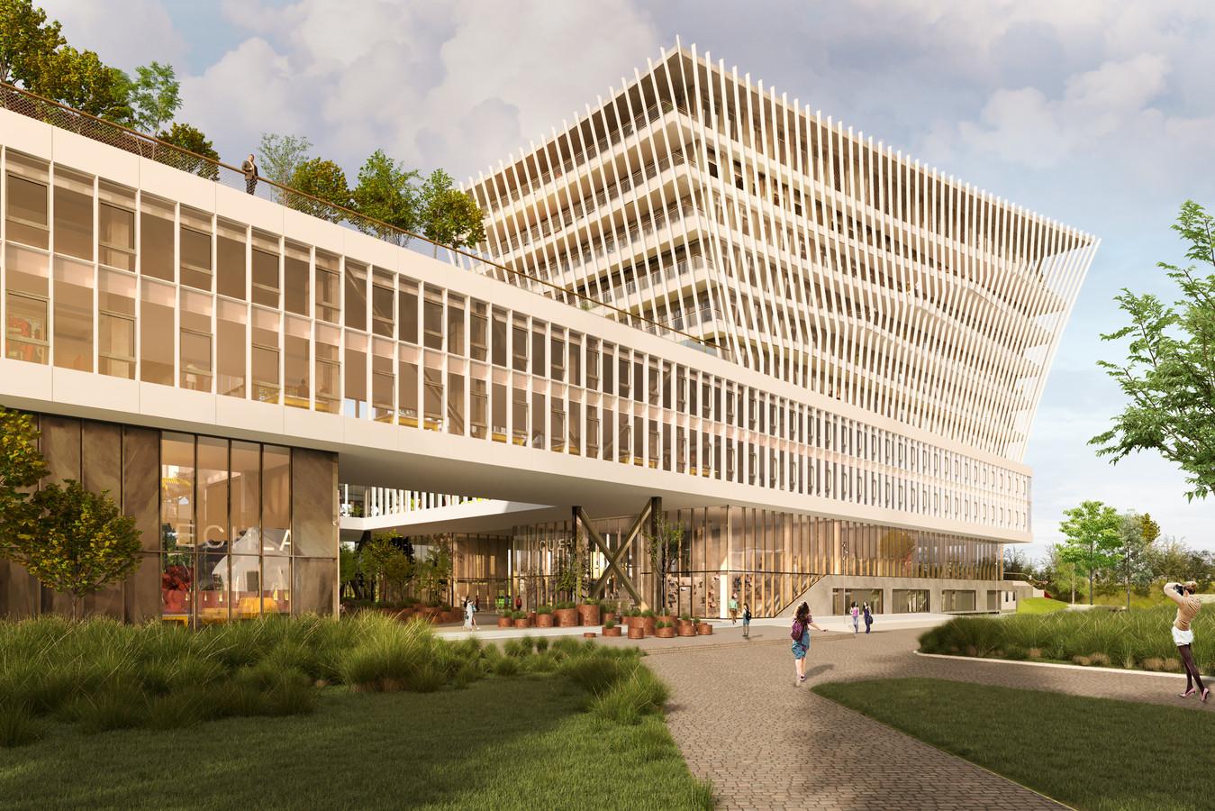 Een impressie van het geplande onthaalgebouw voor de Maritieme Campus op de voormalige BP-site.