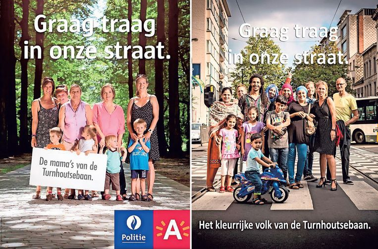 Links de officiële affiche van het stadsbestuur, rechts de versie die de buurtbewoners maakten. Beeld rv / François De Heel