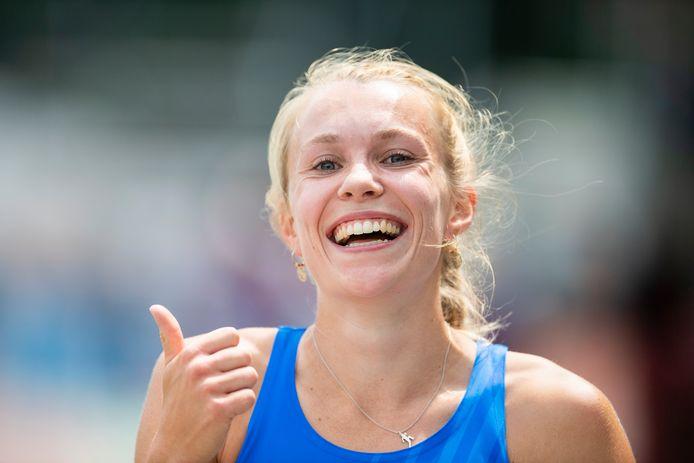 De Eindhovense Maureen Herremans werd zondag met 13,98 meter Nederlands kampioene hinkstapspringen.
