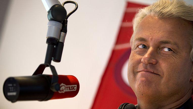 Geert Wilders in een uitzending van radiozender Q-music. Beeld ANP