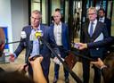 Han Busker (FNV), Piet Fortuin (CNV) en Hans de Boer (VNO-NCW) hopen dat het demissionaire kabinet doorgaat met het maken van steunpakketten voor getroffen ondernemers.