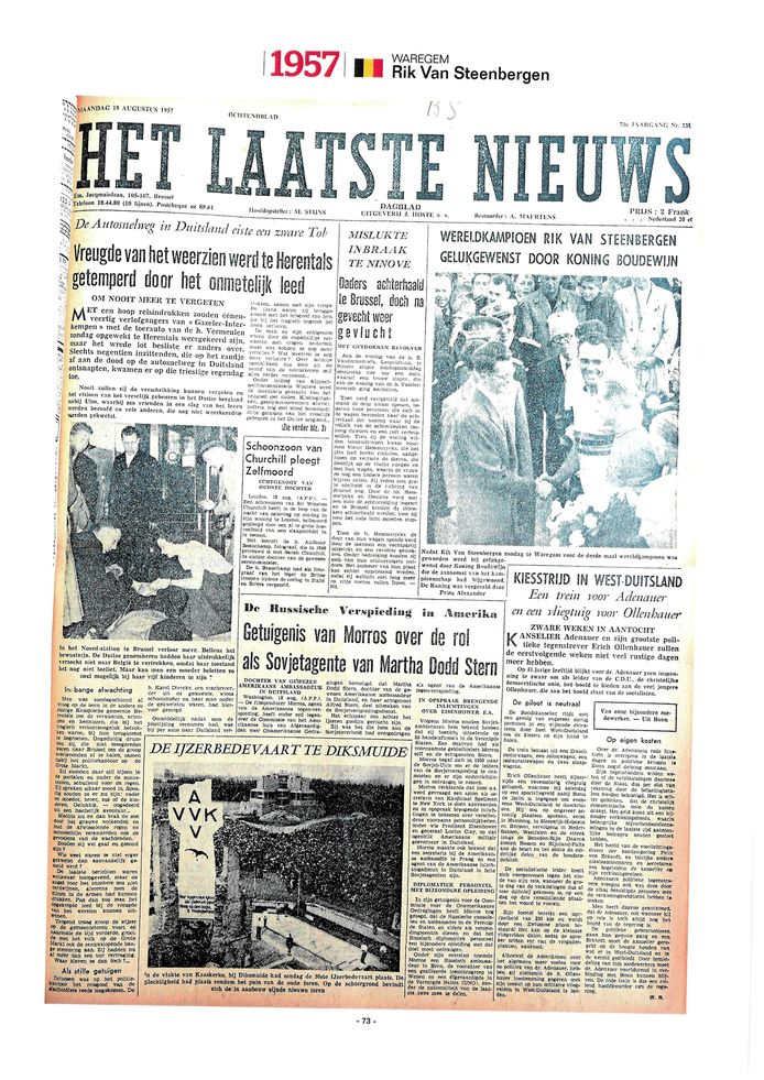 De voorpagina uit Het Laatste Nieuws van 1957.