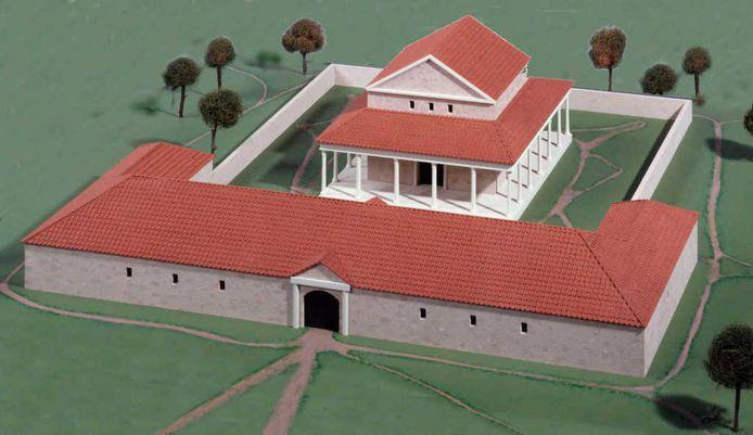 Maquette van de Tempel van Empel zoals te zien is in het Noordbrabants Museum.