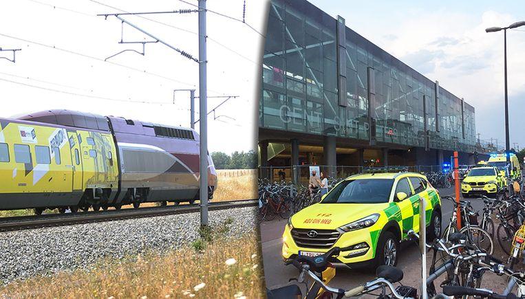 Reizigers van een Thalys-trein werden overgebracht naar Edingen, nadat hun trein geblokkeerd stond. En in Gent-Sint-Pieters werd het medisch interventieplan afgekondigd. Beeld Mozkito / Jeroen Desmecht