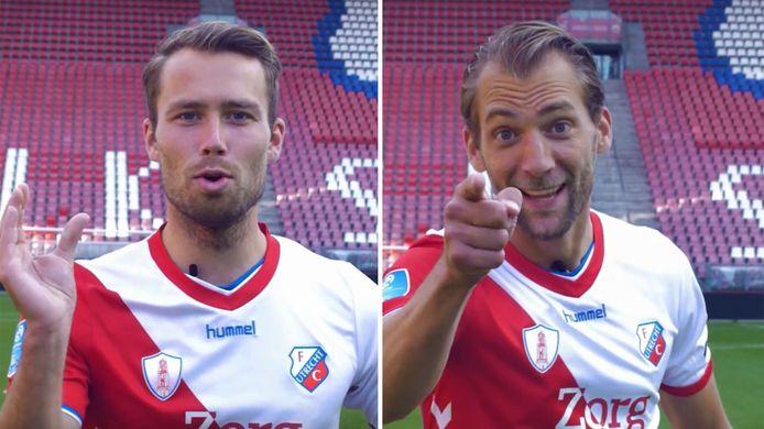 FC Utrecht-spelers Sander van de Streek en Willem Janssen