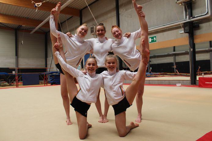 De vijf meisjes van Altis Eeklo stomen zich klaar voor het WK Acrogym in Genève.