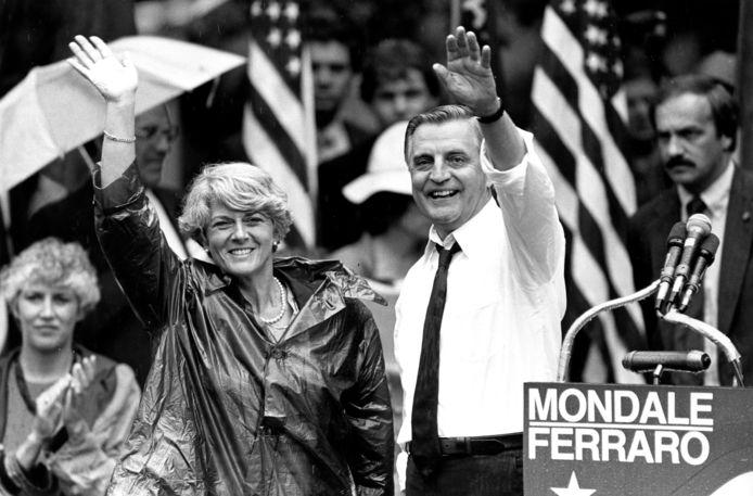 Walter Mondale als presidentskandidaat met zijn running mate, Geraldine Ferraro in 1984.