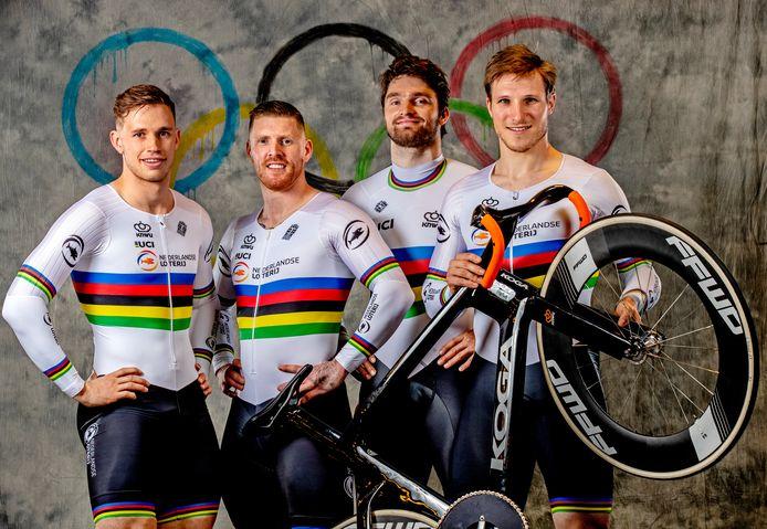 De olympische teamsprinters, met helemaal rechts Jeffrey Hoogland.