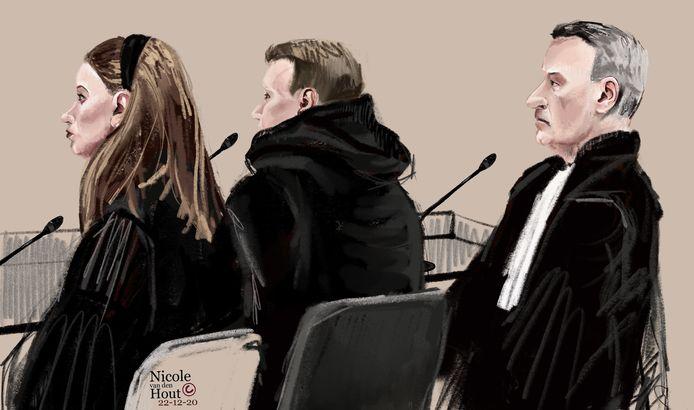 De Waddinxveense vader (30) in de Haagse rechtbank met zijn advocaten.