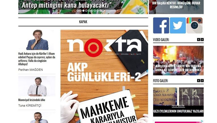 Screenshot van de website van het tijdschrift Nokta. Beeld screenshot