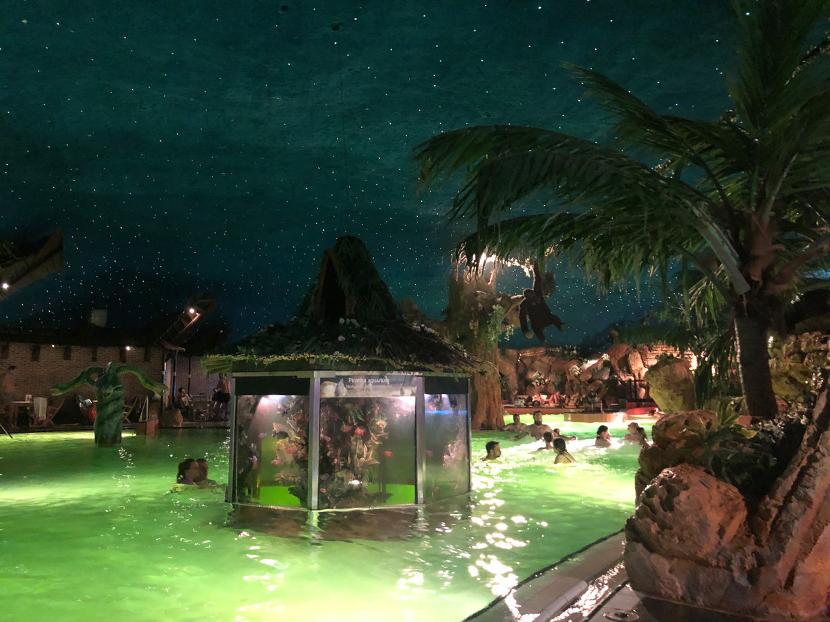 Het zwembad, met piranha-aquarium