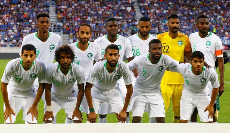 De ploegfoto van Saudi-Arabië tijdens een voorbereidingswedstrijd. Kunt u er eentje van opnoemen? Beeld Photo News