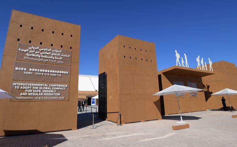 Het gebouw waar vandaag het VN-migratiepact is aangenomen Beeld AFP