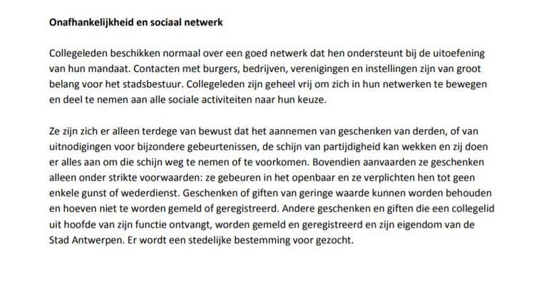Uittreksel uit de Gedragscode voor leden van het college van de stad Antwerpen Beeld rv