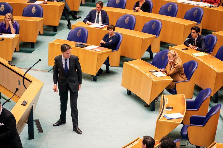Mark Rutte tijdens het verkennersdebat in de Tweede Kamer.  Beeld Werry Crone