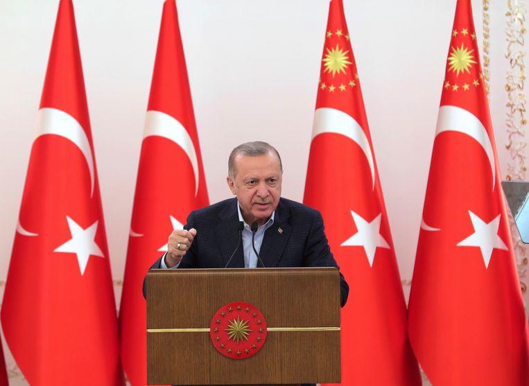De Turkse president Recep Tayyip Erdogan tijdens een bijeenkomst in Ankara. Beeld AP