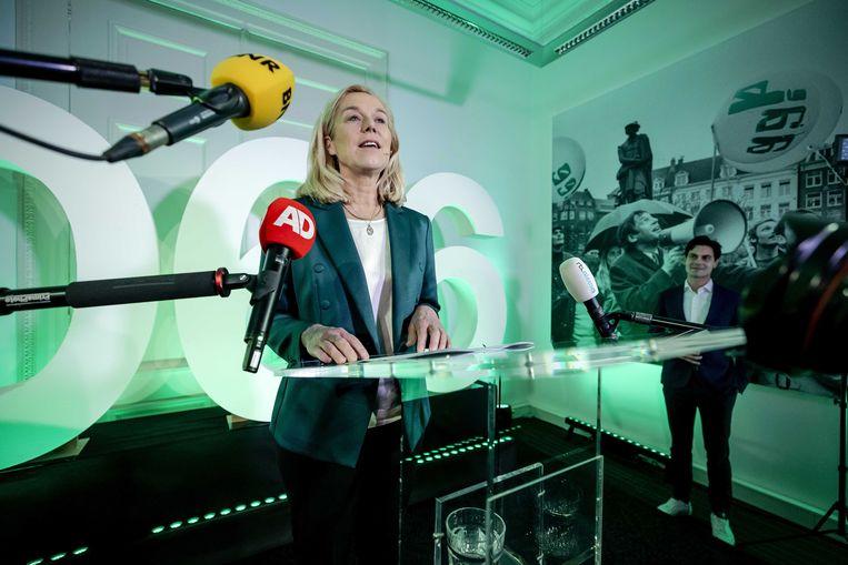 Sigrid Kaag reageert in het verenigingshuis van het Landelijk Bureau op de uitslagen voor de Tweede Kamerverkiezingen.  Beeld ANP