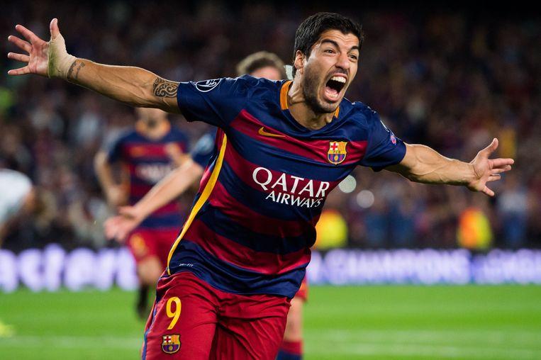 Barca-speler Suárez viert zijn winnende goal. Beeld getty