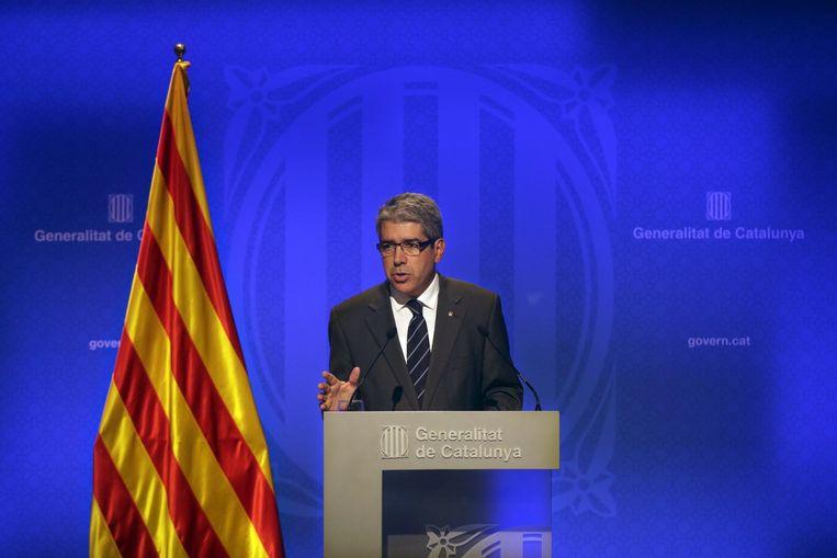 Woordvoerder van de Catalaanse regering Francesc Homs tijdens de persconferentie vandaag in Barcelona. Beeld epa