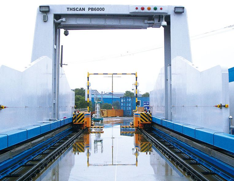 De omstreden scanners van de Chinese firma Nuctech worden onder meer gebruikt in havens. Beeld rv