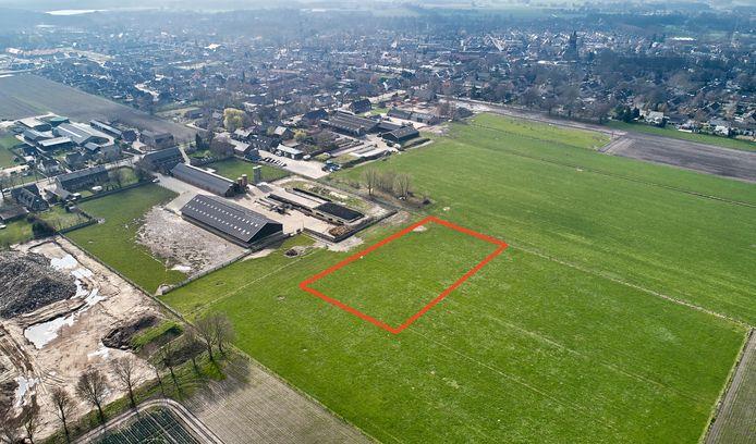 In de rode rechthoek is een megastal gepland, aan de Pastoor van Winkelstraat in Schaijk, dichtbij de bebouwde kom.