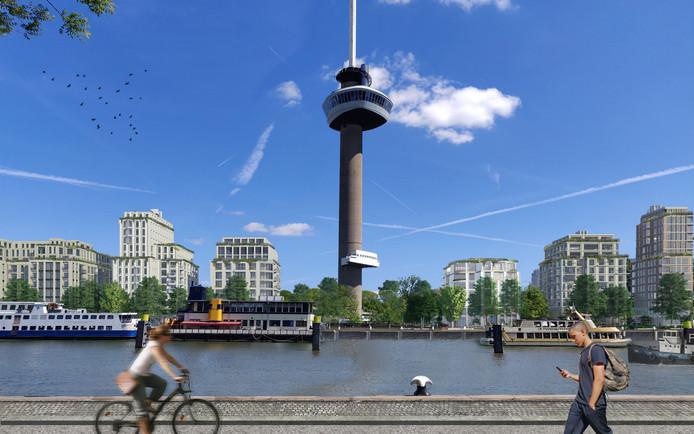 Impressie van het aangepaste plan voor de woningbouw aan de Parkhaven in Rotterdam.