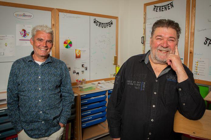Eerder dit jaar raakte Groeisaam ook al twee docenten kwijt: Jos van Koolwijk (rechts) en Willy van Leeuwen van basisschool De Oversteek in Dreumel gingen met pensioen.