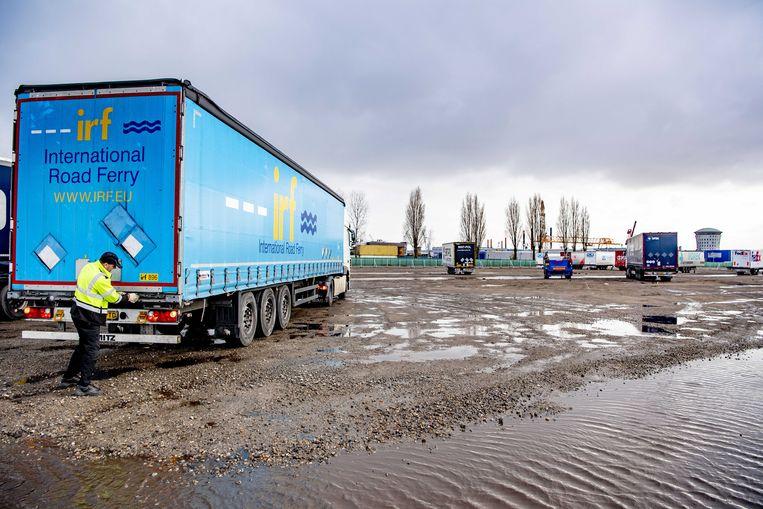 In het Rotterdamse havengebied zijn zo'n 700 parkeerplaatsen geregeld voor chauffeurs die naar Engeland willen, maar hun papieren niet op orde hebben.  Beeld ANP