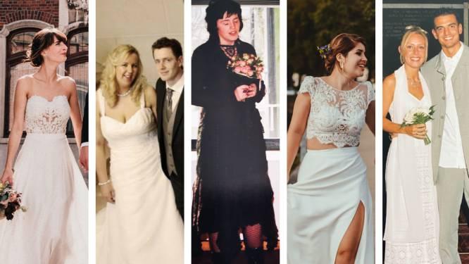 """Deze tweedehands jurken zou de NINA-redactie dragen als ze (opnieuw) trouwen. """"Nu durf ik wel te kiezen voor een elegante sleep"""""""