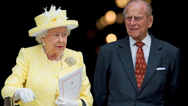 De Britse vorstin Elizabeth en prins Philip bij de St Pauls Cathedral. Beeld anp