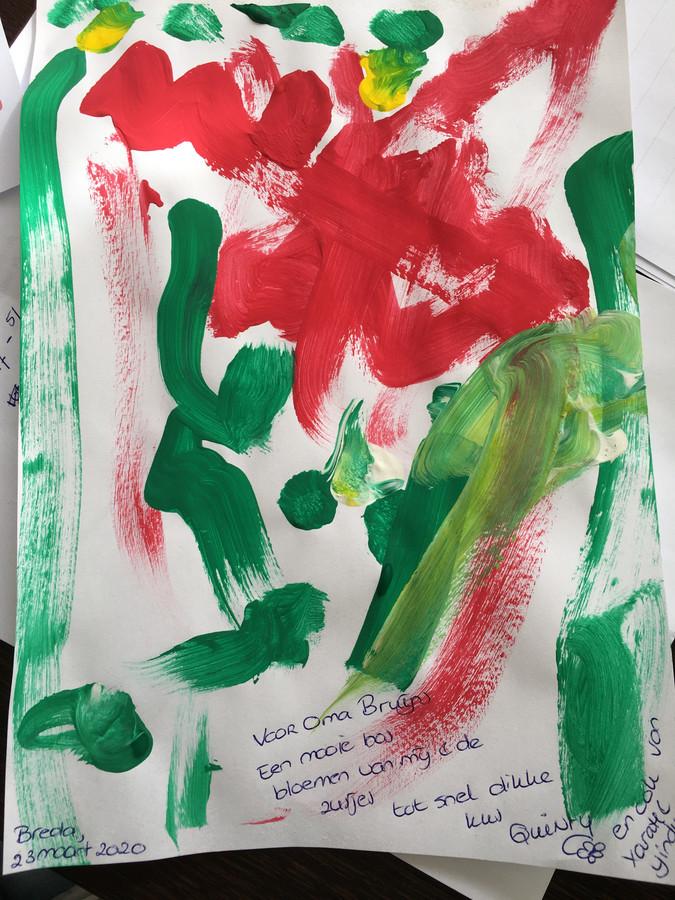 'Een mooie zelfgemaakte geschilderde tekening van bloemen door onze 2,5 jarige Quinty (en haar zusjes) voor Oma Bruijns in Terheijden - omdat ze oma moet missen de komende tijd door het gekke coronavirus'