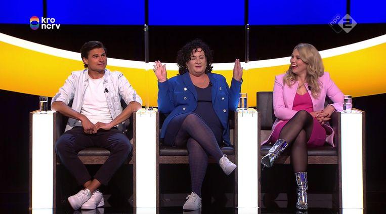 Milan van Dongen, Caroline van der Plas en Lisa Loeb in De Slimste Mens, NPO 2. Beeld