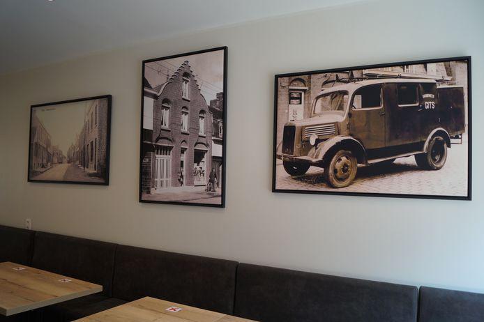 In de frituur zie je enkele zwart-witfoto's met daarop de vroegere drankenhandel en een oude brandweerwagen.