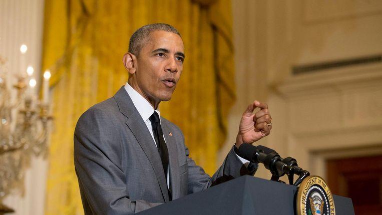 Obama tijdens zijn speech. Beeld afp
