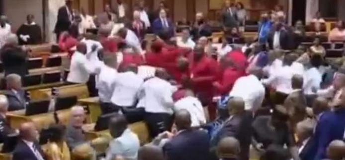 vechtpartij in parlement Zuid-Afrika